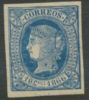 SPANISCH-WESTINDIEN 1866 Königin Isabella II Jahreszahl 1866, 10 C blau ABART