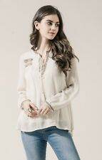 Moon River size Medium 8/10 Tassel Embroidered Peasant Top Anthropologie