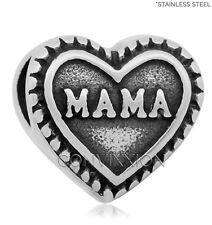 STAINLESS Steel European Charm Bead Mama Heart Love Mom Dark Mother vix4pandora