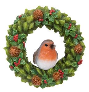 Vivid Arts - Hanging Christmas Robin floral Wreath- Decoration 6cm High