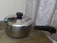 Vtg Revere Ware Copper Clad Bottom 2 qt Sauce Pan w/Lid Pre 1968 Process Patent