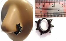 Black Titanium Nose Nostril Jewelry Hoop Ring Spikes Spiked 18 gauge 18g