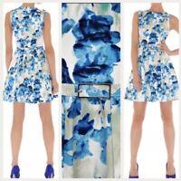 Stunning Karen Millen White Blue Iris Floral Belt Summer Skater Dress UK 8 Party