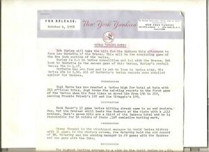 10/6/58 New York Yankees world series publicity release and stats