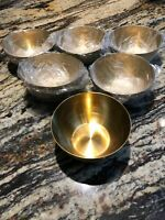 """Lot Of 6 Each  Solid Brass Bowl 5""""x2"""" inch Deep Bowl"""