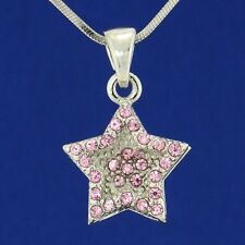 "W Swarovski Crystal Pink Star Wish Double Layer New Pendant Necklace 18"" Chain"