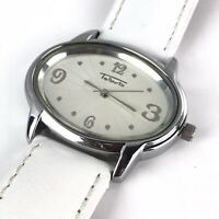Talbots Womens Watch Silver Tone White Leather Band Oval Quartz