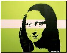 "BANKSY STREET ART *FRAMED* CANVAS PRINT Mona Lisa Green 24x16"" stencil -"