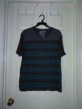 MEN'S XLG JNCO 85 STRIPED Teal & black TEE SHIRT short sleeve Henley SCHOOL eu