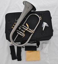 Professionl new Flugelhorn Black nickel Flugel Horn Monel Valve Bb key with Case