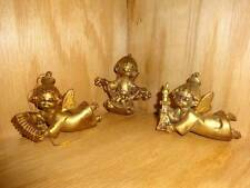 Vintage 3 Gold Tone Angels Angel Holiday Christmas Tree Ornament Lot Italy