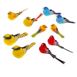 10PCS ARTIFICIAL SMALL FAKE DECORATIVE FOAM BIRDS CRAFTS HOME GARDEN DECOR