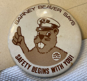 Vintage 60s quirky Safety Barney Beaver OHS unusual Collectable tin Badge