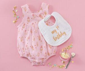 Mud Pie Baby Girls My First Birthday Pink Ice Cream Bubble With Bib Size 9-12M