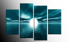 LARGE TEAL SEASCAPE SUNSET CANVAS PICTURES WALL ART SPLIT MULTI 4 PANEL 40""