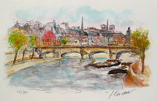 Urbain Huchet PONT NEUF Hand Signed Limited Edition Small Lithograph Art
