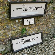 Set of Vintage Hand Painted Wooden Signs for Antiques - Decorative Shop Salvage