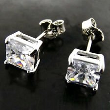 B132 GENUINE REAL 925 STERLING SILVER S/F LADIES DIAMOND SIMULATED STUD EARRINGS