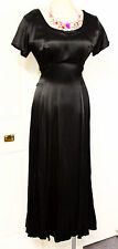 1990s Maxi Dress Size 10 Black Silk 38-30-free Boho Vintage Retro  M Sz Ladies