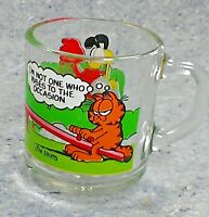GARFIELD 1980 Coffee Mug McDonalds Cartoon Jim Davis Rise To Occasion glass