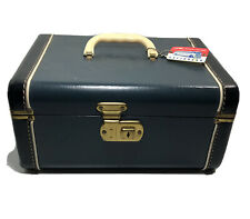 "Vintage Hard Shell Suitcase Train Makeup Case Blue & Black W Mirror 13""x9""x7"""