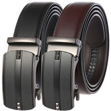 Luxury Men's Real Leather Belt Automatic Buckle Ratchet Waist Strap Jeans Dress