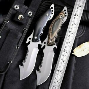 Drop Point Knife Serrated Hunting Combat Tactical High Carbon Steel Wood Handle