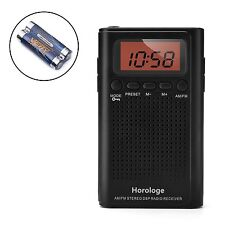 Horologe AM FM Pocket Radio, Portable Alarm Clock Radio with Time, Alarm, Radio,