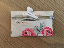 Handmade Earphone Earbud Zipped Case Pouch - Cath Kidston Forest Bunch Fabric