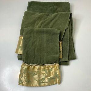 Elegance bath towel set 3 green gold floral trim 100% cotton
