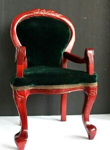 Mark Roberts Carved Wooden Doll Chair Green Velvet Fabric Seat and  Back