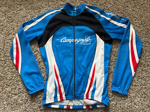 CAMPAGNOLO TEAM ITALY CYCLING JERSEY BLUE LONG SLEEVE FLEECE MEN'S XL