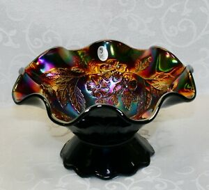 Fenton, Footed Bowl, Golden Ebony Carnival Glass.