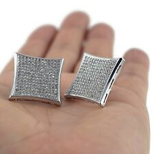Huge 25mm Kite Silver Tone Iced Large Screw Back Micro Pave Hip Hop Earrings