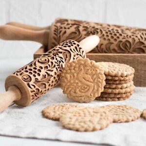 Flower Paisley Wooden Rolling Pin Embossing Baking Cookies Biscuit Christmas EN