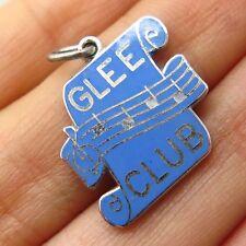 Vtg Signed 925 Sterling Silver Enamel Glee Club Music Charm Pendant