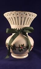 "Baum Bros. Vase ""Formalities"" Holly Collection ~gold-trimmed/green ribbon~ China"