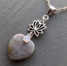 Labradorite Heart Rainbow Moonstone Lotus Flower Pendant Necklace chakra reiki