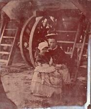 ORIG VICTORIAN Tintype / Ferrotype Photo c1860's MOTHER & CHILD AT SEASIDE
