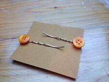 Cute Handmade Vintage Button Hair Slides/Kitsch/Plastic/Retro/Orange