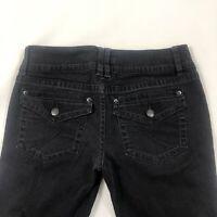 ELLE Women's Boot Cut Black Denim Jeans Size 4 Regular Flap Pockets Low Rise