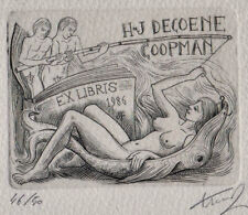 J. FRANCK Erotisches Exlibris Erotic Fishing Nude Copper Engraving C2 signed