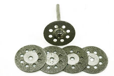 "5x 22mm Diamond coated Cut-Off Saw wheel disc + 1x Breath Hole 1/8"" shank dremel"