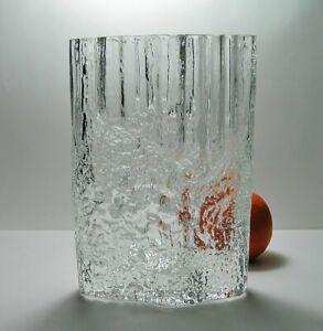 "TAPIO WIRKKALA Iittala Art Glass PINUS VASE Big 9"" Size BARK Texture * SIGNED TW"
