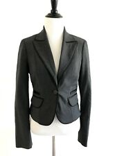 BEBE Womens One Button Blazer Size 6 Black V-neck Wool Blend Lined Stretch N2