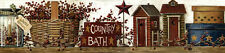 New Primitive Folk Art COUNTRY BATH Outhouse Berry Basket Star Wallpaper Border