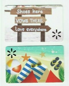 Walmart Gift Card LOT of 2 - Beach Wedding, Sand & Ocean & Beach Ball - No Value