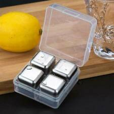 4Pcs Reusable Stainless Steel Ice Cubes Chilling Stones For Whiskey Wine D lskn