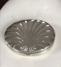 New listing Vintage Collectible Evan Silver Tone Shell Powder Compact