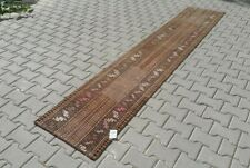 BROWN Turkish Hallway Runner 2x11ft Vintage Oushak Anatolian Handmade Wool Rug
